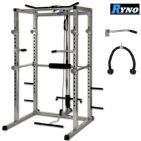 Ryno™ Ultimate Power Rack & FID Dumbbell Weight Bench Package - Silver / Black